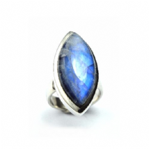 Large Rainbow Moonstone Ring Silver Marqui shape 'One-Off' size Q